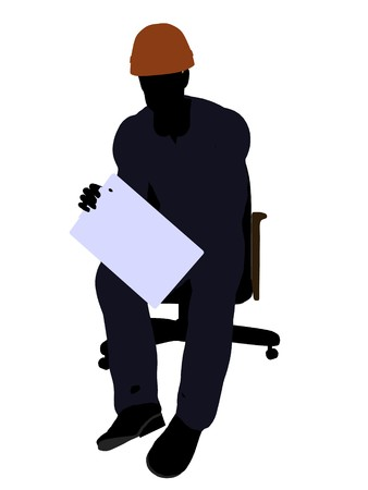 prefabrication: Male construction worker art illustration silhouette on a white background Stock Photo