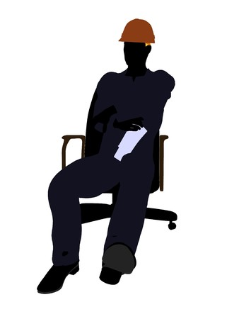 Male construction worker art illustration silhouette on a white background illustration