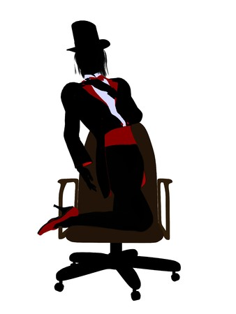diabolist: Female magician sitting in a chair silhouette illustration on a white background Stock Photo