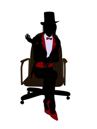 archimage: Female magician sitting in a chair silhouette illustration on a white background Stock Photo