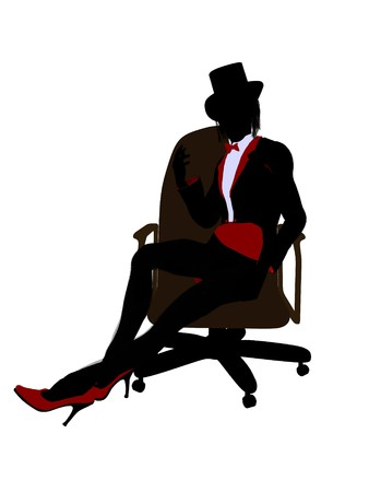 Female magician sitting in a chair silhouette illustration on a white background illustration