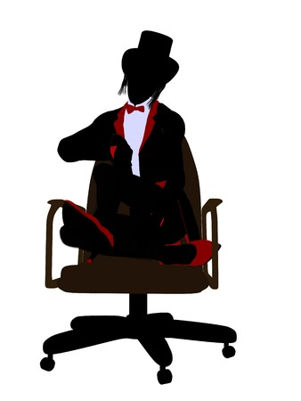 conjurer: Female magician sitting in a chair silhouette illustration on a white background Stock Photo