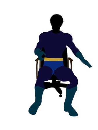 archnemesis: African american male hero sitting on a chair silhouette dressed in shorts on a white background