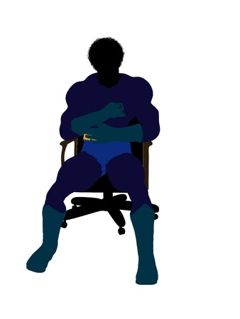 African american male  hero sitting on a chair silhouette dressed in shorts on a white background photo