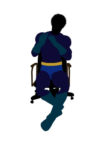 supervillians: African american male  hero sitting on a chair silhouette dressed in shorts on a white background Stock Photo