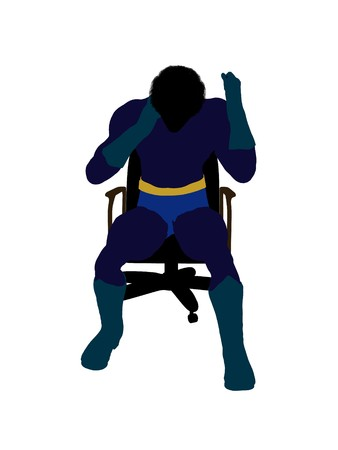 archnemesis: African american male  hero sitting on a chair silhouette dressed in shorts on a white background Stock Photo