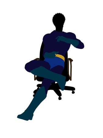 supervillians: African american male hero sitting on a chair silhouette dressed in shorts on a white background