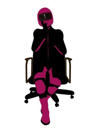 Biker sport femminile, seduta in una sedia arte illustrazione silhouette su uno sfondo bianco  Archivio Fotografico - 7061180