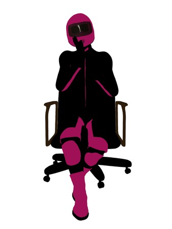 Female sports biker sitting in a chair art illustration silhouette on a white background illustration