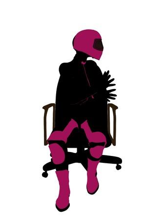 Biker sport femminile, seduta in una sedia arte illustrazione silhouette su uno sfondo bianco  Archivio Fotografico - 7061101