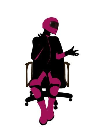 Biker sport femminile, seduta in una sedia arte illustrazione silhouette su uno sfondo bianco  Archivio Fotografico - 7061327