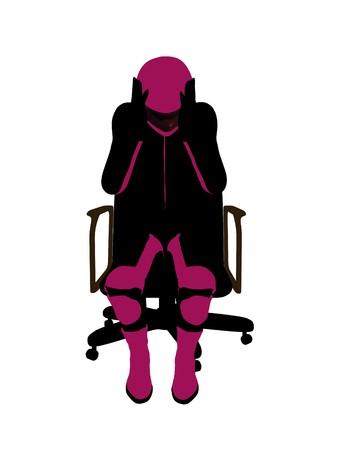 Biker sport femminile, seduta in una sedia arte illustrazione silhouette su uno sfondo bianco  Archivio Fotografico - 7061087