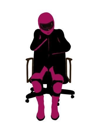 Biker sport femminile, seduta in una sedia arte illustrazione silhouette su uno sfondo bianco  Archivio Fotografico - 7061147