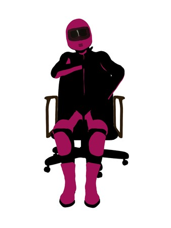 dirt bike: Female sports biker sitting in a chair art illustration silhouette on a white background