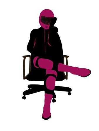 Biker sport femminile, seduta in una sedia arte illustrazione silhouette su uno sfondo bianco  Archivio Fotografico - 7061080