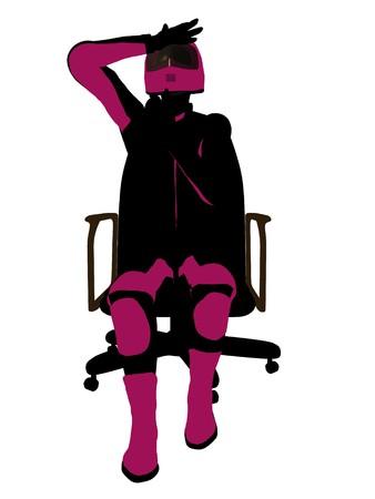 Biker sport femminile, seduta in una sedia arte illustrazione silhouette su uno sfondo bianco  Archivio Fotografico - 7062214