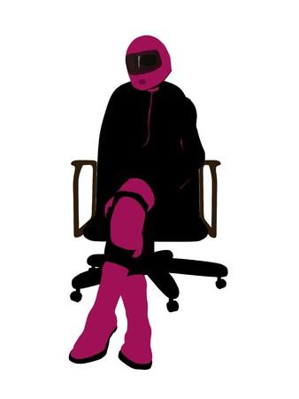 Biker sport femminile, seduta in una sedia arte illustrazione silhouette su uno sfondo bianco  Archivio Fotografico - 7061054