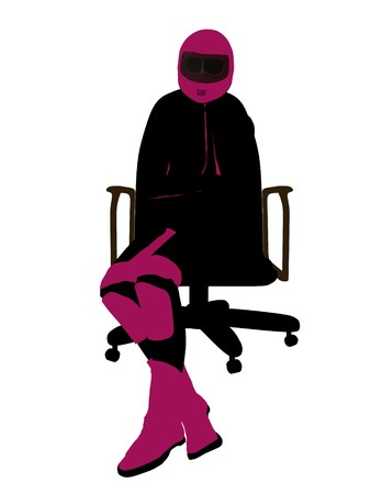 Biker sport femminile, seduta in una sedia arte illustrazione silhouette su uno sfondo bianco  Archivio Fotografico - 7061072