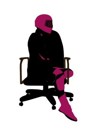 Biker sport femminile, seduta in una sedia arte illustrazione silhouette su uno sfondo bianco  Archivio Fotografico - 7060915
