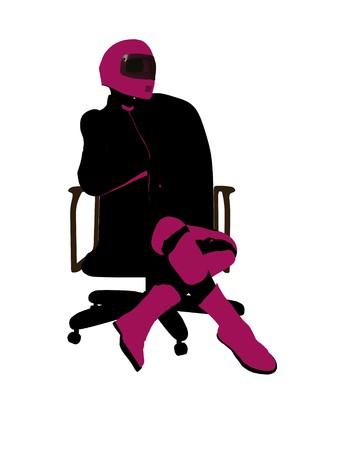 Biker sport femminile, seduta in una sedia arte illustrazione silhouette su uno sfondo bianco  Archivio Fotografico - 7061045