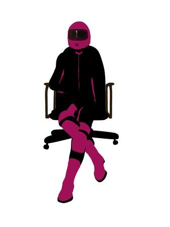 Biker sport femminile, seduta in una sedia arte illustrazione silhouette su uno sfondo bianco  Archivio Fotografico - 7060938