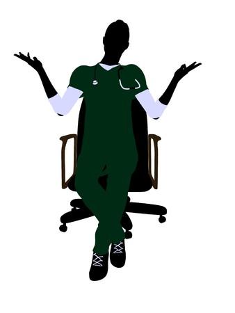 白い背景に椅子アート イラスト シルエットの上に座って女医 写真素材