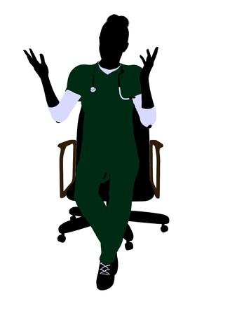 椅子アート イラスト シルエット白い背景の上に座っている女性の医者 写真素材