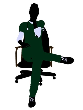 Female doctor sitting on a chair art illustration silhouette on a white background Stock Illustration - 7061160