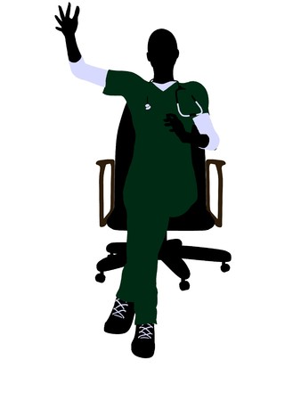 medico: Female doctor sitting on a chair art illustration silhouette on a white background