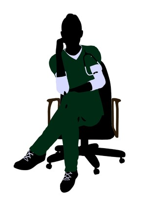 general practitioner: Female doctor sitting on a chair art illustration silhouette on a white background