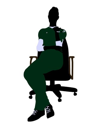 healer: Female doctor sitting on a chair art illustration silhouette on a white background