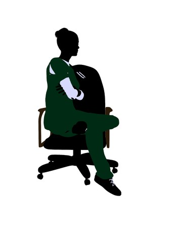 Female doctor sitting on a chair art illustration silhouette on a white background Stock Illustration - 7060843