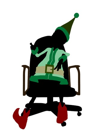 brownie: A  christmas elf sitting in a chair illustration silhouette on a white background Stock Photo