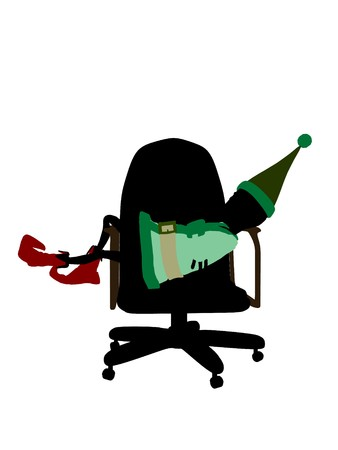 fay: A  christmas elf sitting in a chair illustration silhouette on a white background Stock Photo