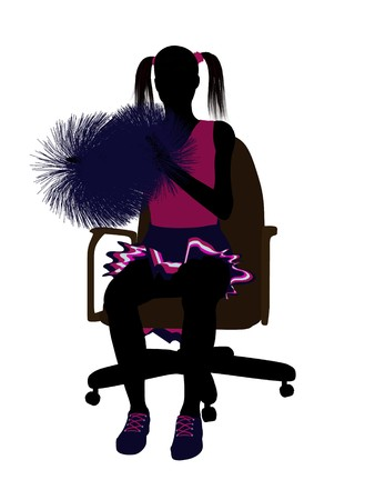 Cheerleader sitting on an office chair silhouette on a white background  photo