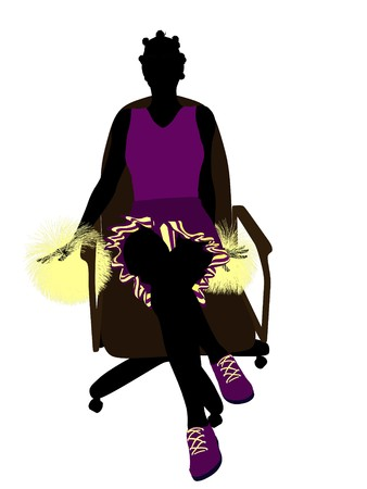 African american cheerleader sitting on an office chair silhouette on a white background  photo