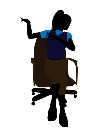Casual dressed female sitting on an office chair silhouette on a white background Stock Photo - 7194225