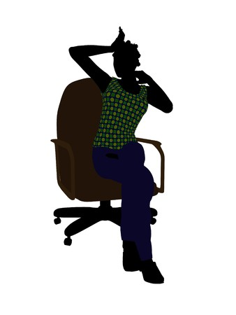 African American casual dressed female sitting on a chair silhouette on a white background Stock Photo - 7195507