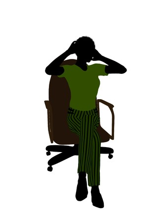 African american Female business executive sitting on an office chair silhouette on a white background Stock Photo