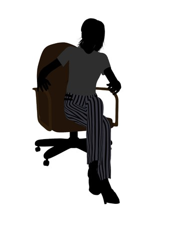 Female business executive sitting on an office chair silhouette on a white background