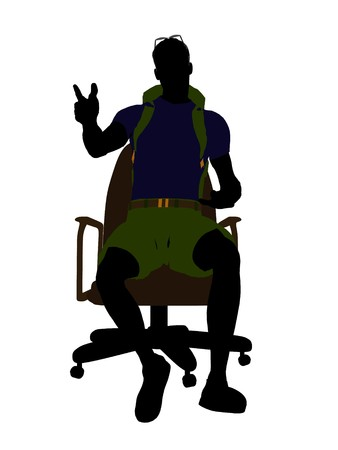 Male hiker sitting on an office chair illustration silhouette on a white background