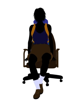 Female hiker sitting in an office chair illustration silhouette on a white background