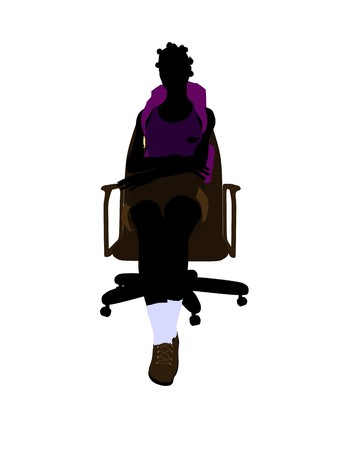 African american hiker sitting on an office chair illustration silhouette on a white background