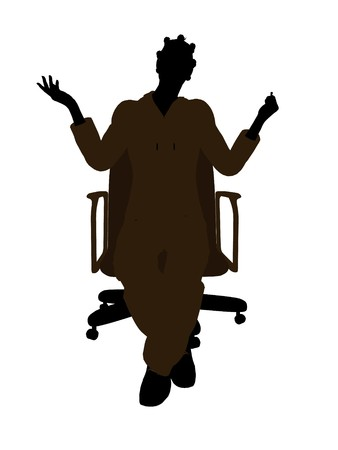 African american female mechanic sitting on an office chair illustration silhouette on a white background illustration