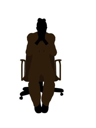 Female mechanic sitting in an office chair illustration silhouette on a white background illustration
