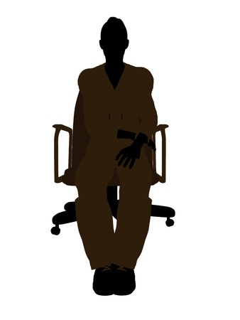machinist: Female mechanic sitting in an office chair illustration silhouette on a white background Stock Photo