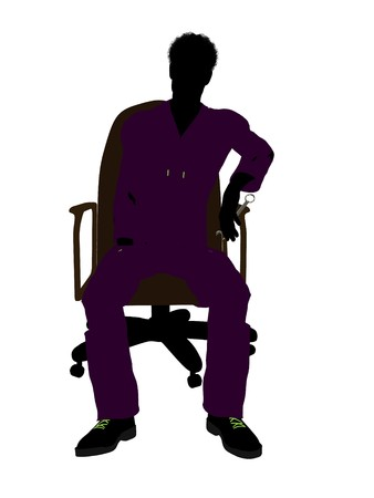 African american mechanic sitting on an office chair illustration silhouette on a white background illustration