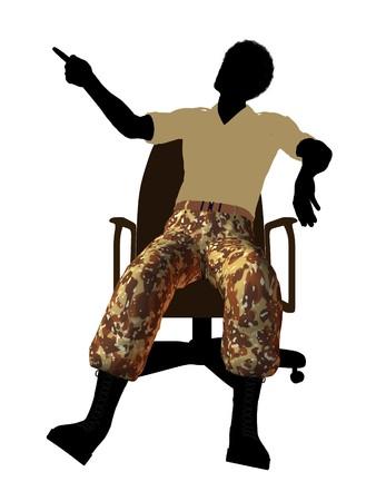 Afrikaanse Amerikaanse soldaat zitten in een kantoor stoel silhouet op een witte achtergrond