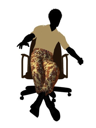 enlisted man: African american soldier sitting in an office chair silhouette on a white background