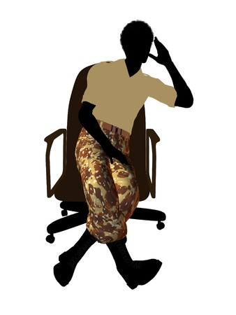 guerrilla: African american soldier sitting in an office chair silhouette on a white background